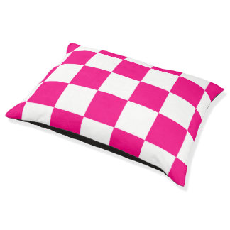 Pink And White Checkered Pattern Dog Bed