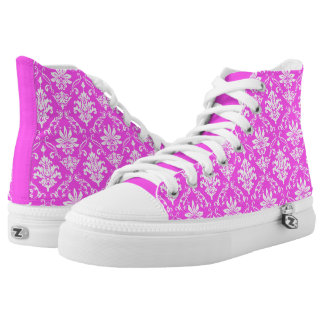 Pink and White Damask High Tops