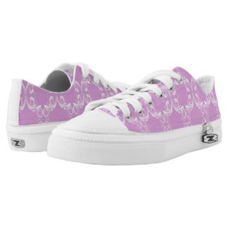 Pink and White Damask Low Tops
