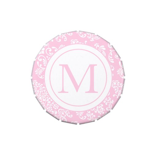 Pink and White Damask-Monogram Jelly Belly Candy Tin