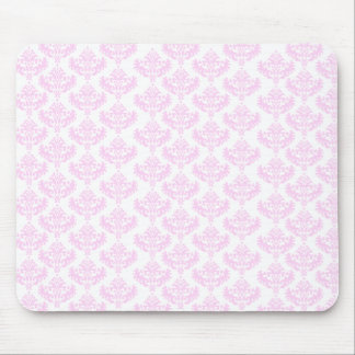 Pink and White Damask Pattern Mouse Pad