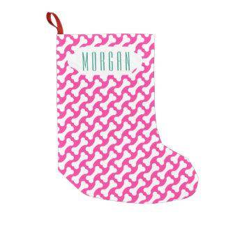 Pink and white dog bones custom Christmas stocking