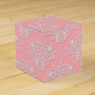 Pink and White Fancy Floral Damask Pattern Favour Box