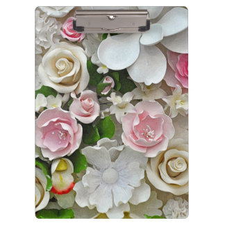 Pink and white floral pattern clipboards