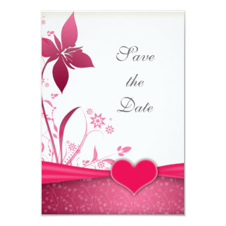 "Pink and White Floral Wedding Save the Date 3.5"" X 5"" Invitation Card"