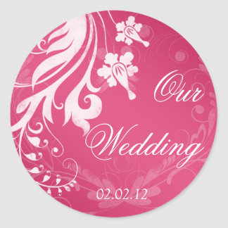 Pink and White Floral Wedding Stickers