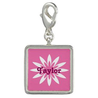 Pink and white flower monogram charm