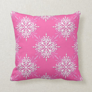Pink and White Girly Damask Pattern Cushion