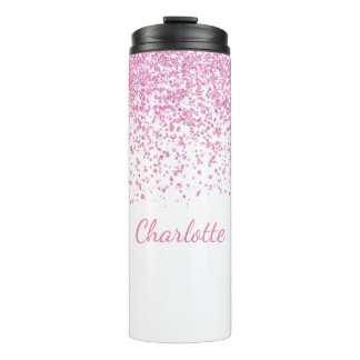 Pink and White Glittery Custom Thermal Tumbler