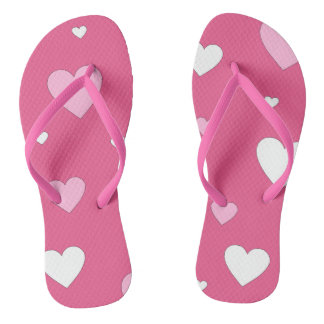 Pink and White Heart Love Flip Flops Thongs