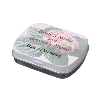 Pink and White Hydrangea Wedding Products Jelly Belly Candy Tins