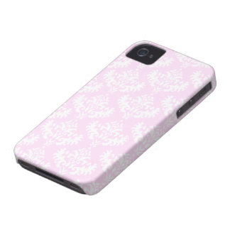 Pink and White Luxurious Damask Pattern iPhone 4 Cover
