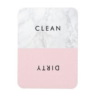Pink and White Marble Modern Typography Dishwasher Rectangular Photo Magnet