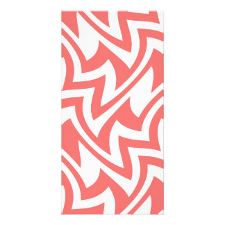 Pink and White Modern Abstract Geometric Patterns Photo Greeting Card