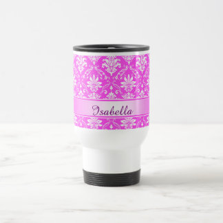 Pink and White Named Damask Stainless Steel Travel Mug