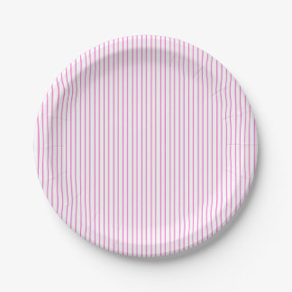 Pink and White Pinstripe Paper Plates 7 Inch Paper Plate