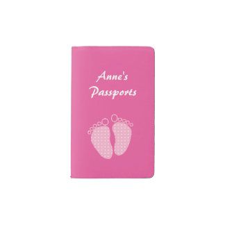 Pink and white polka dot baby feet pocket moleskine notebook