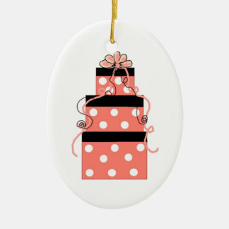 Pink and White Polka Dot Packages Christmas Ornament