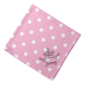 Pink and White Polka Dots With Crown Bandana