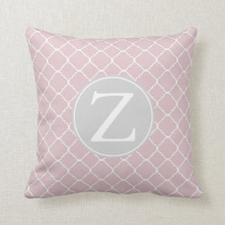 Pink and White Quatrefoil Pattern Monogram Throw Pillow