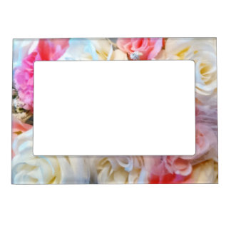 Pink and White Rose Magnetic Frame (5x7)