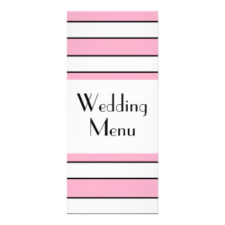 Pink And White Striped Wedding Menu Custom Rack Card