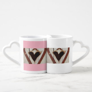 pink  and white  valentines day heart  couple mug
