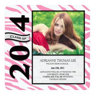 Pink and White Zebra Graduation 2014 Announcement