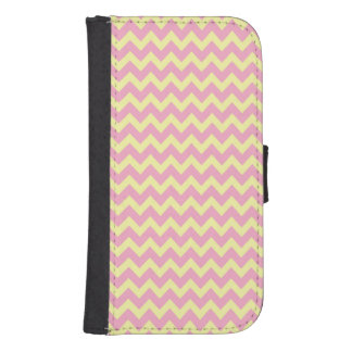 Pink and Yellow Chevron Zigzag Pattern Samsung S4 Wallet Case