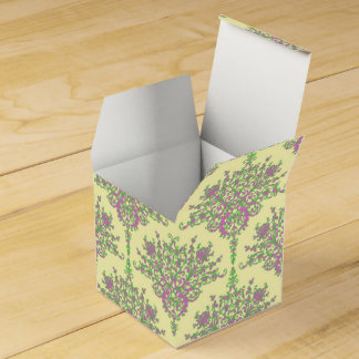 Pink and Yellow Fancy Floral Damask Pattern Favour Box