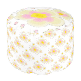 Pink and Yellow Flowers Pouf