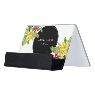 Pink And Yellow Flowers With Ferns Desk Business Card Holder