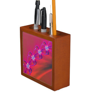 Pink and Yellow Striped Flower Fractal Desk Organiser