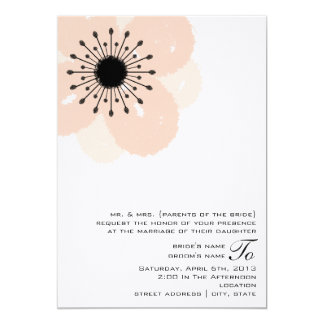 Pink Anemone Wedding Invite: From Parents Of Bride 13 Cm X 18 Cm Invitation Card