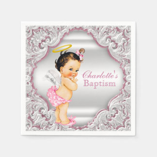 Pink Angel Girl Baptism Disposable Napkins