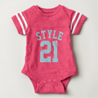 Pink & Aqua Baby | Sports Jersey Design Baby Bodysuit
