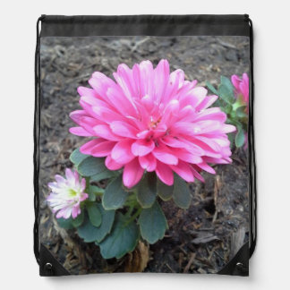 Pink Aster Flowers Drawstring Bag