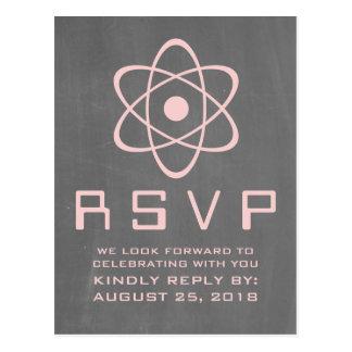 Pink Atomic Chalkboard RSVP Postcard