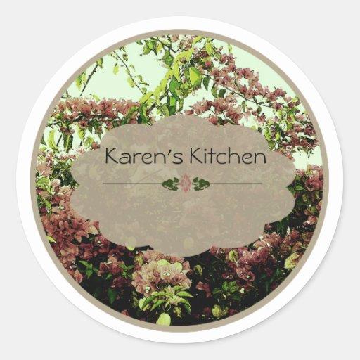 pink azalea spice jar labels round stickers