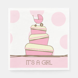 Pink Baby Carriage Cake Baby Shower Disposable Napkins