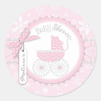 Pink Baby Carriage & Winter Snowflake Round Sticker
