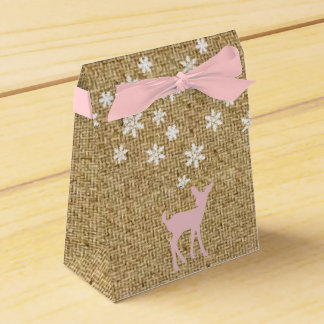 Pink Baby Deer and Snowflakes Burlap Favor Boxes