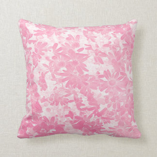Pink Baby Flowers Collage Art Plush Throw Pillow