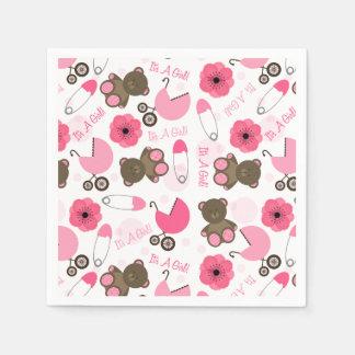 Pink Baby Shower Pattern Disposable Napkin