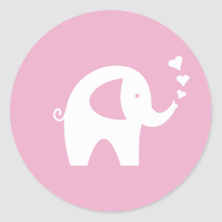 Pink baby shower stickers with cute elephant