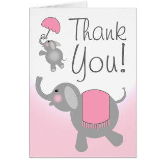 Pink  Baby Shower Thank You Card - Elephants