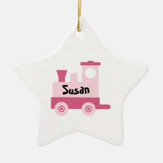 Pink Baby Toy Train Star Ornament