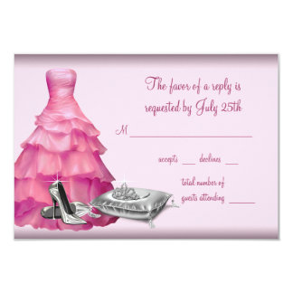 Pink Ball Gown High Heel Shoes Quinceanera RSVP 9 Cm X 13 Cm Invitation Card