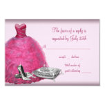 Pink Ball Gown High Heel Shoes Quinceanera RSVP Personalized Announcement