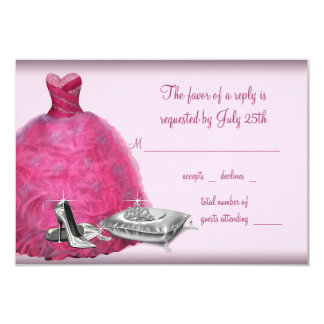 Pink Ball Gown High Heel Shoes Quinceanera RSVP Personalized Announcements